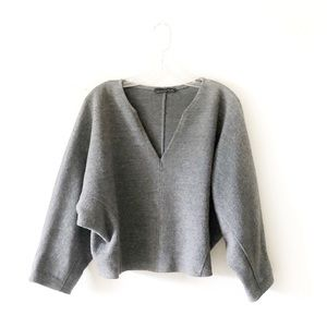 ZARA KNIT • boxy structured gray sweater